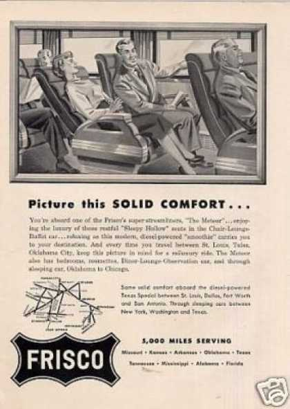 Frisco Railway Ad the Meteor (1950)