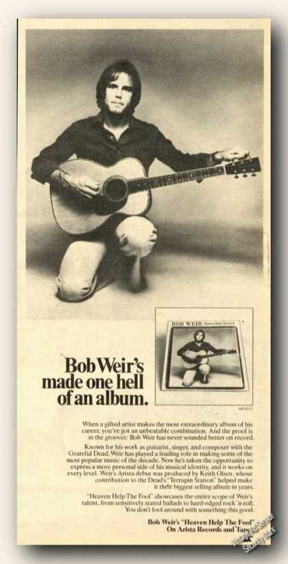 Bob Weir Picture Ad Music Album Promo (1978)