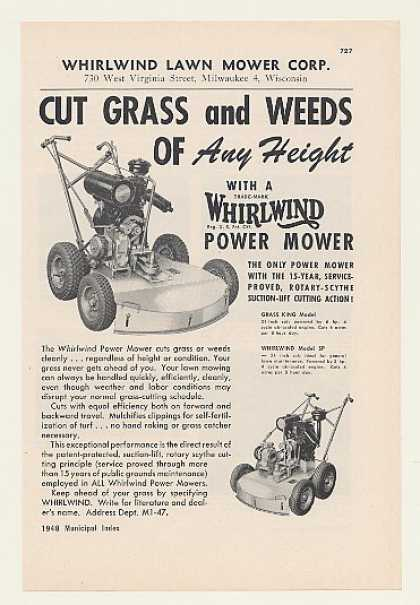 Whirlwind Grass King Model SP Power Lawn Mowers (1948)
