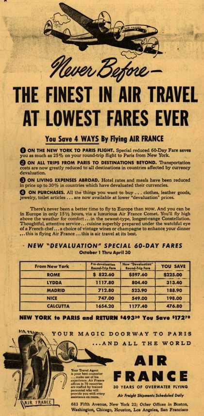 French National Airline's Europe – Never Before- The Finest In Air Travel At Lowest Fares Ever (1949)