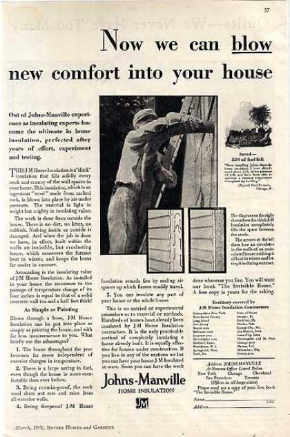 Johns-Manville's Blown-in Insulation (1930)