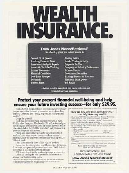 Dow Jones News/Retrieval Service Wealth Ins (1987)