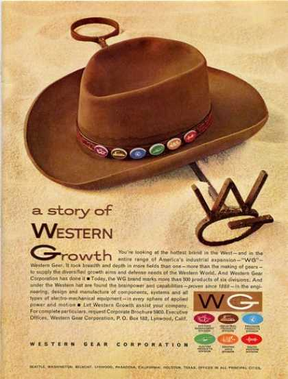 '61 Western Growth Gear Cowboy Hat Cow Brand T (1961)