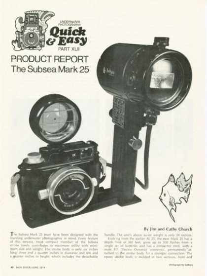 Subsea Mark 25 Underwater Camera Light Article (1974)