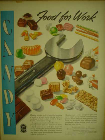 National Confectioners Association. Candy. Food for work. (1944)