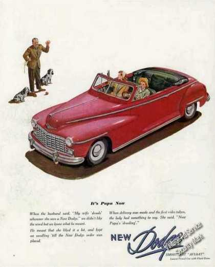 "Dodge Convertible Ad ""It's Papa Now"" Nice Car Art (1947)"