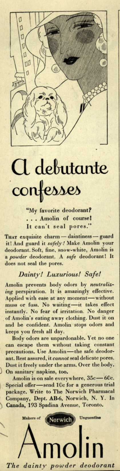 Norwich Pharmacal Co.'s Amolin Deodorant Powder – A debutante confesses (1930)