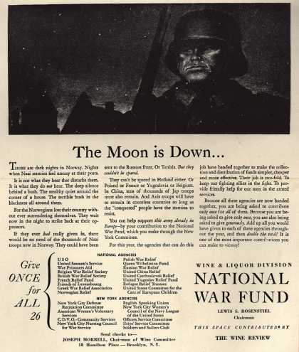 Wine & Liquor Division National War Fund's National War Fund – The Moon is Down (1943)