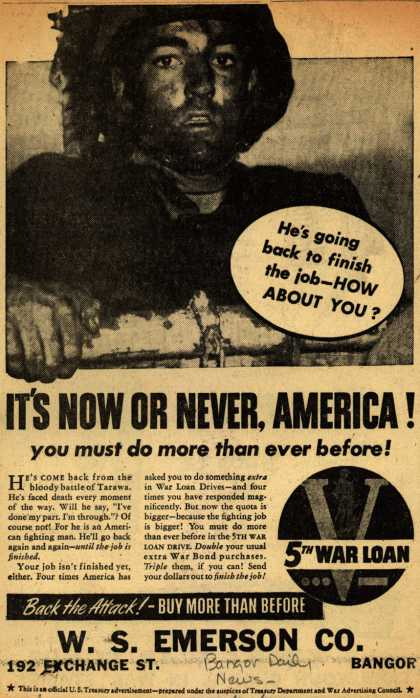 U. S. Treasury Dept.'s 5th War Loan – It's Now Or Never, America (1944)