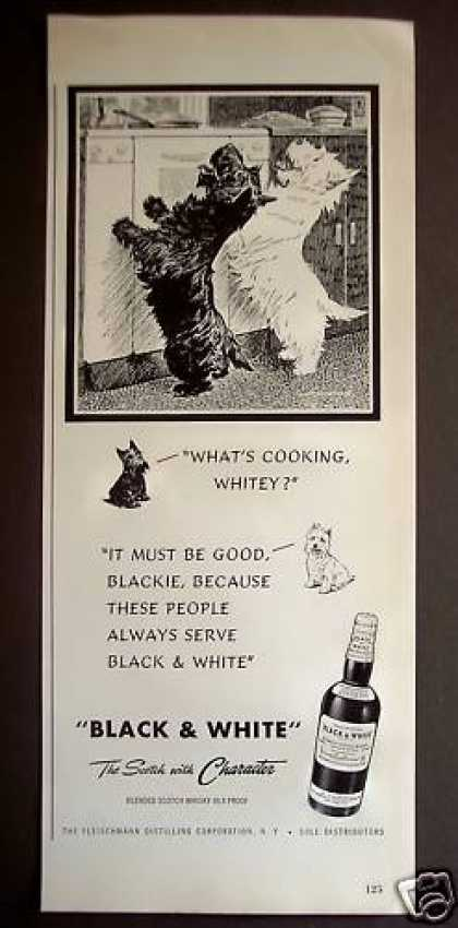 Black & White Whisky Scottie Dogs Begging (1949)