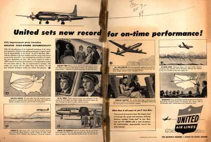 United Air Lines – United sets new record for on-time performance (1949)