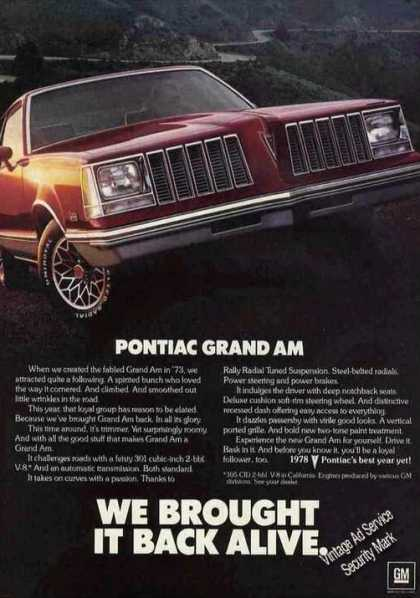 "Pontiac Grand Am ""Brought Back Alive"" (1978)"