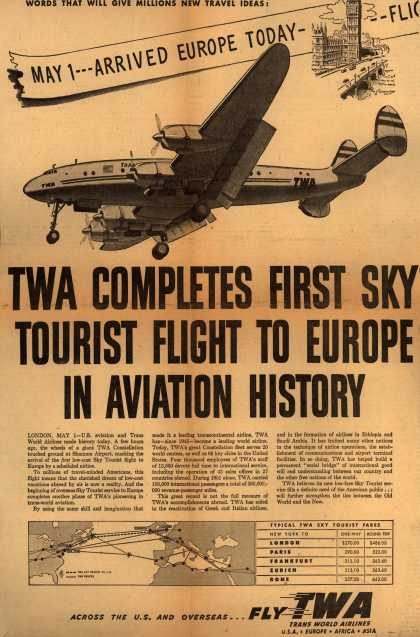 Trans World Airline's Europe Sky Tourist Flight – TWA Completes First Sky Tourist Flight to Europe in Aviation History (1952)