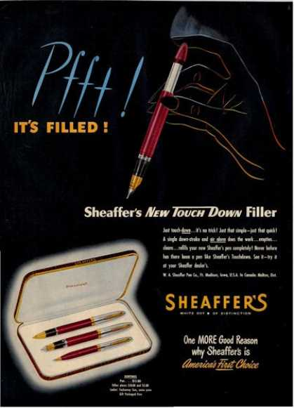 Sheaffer Touch Down Pen Sentinel Ad T (1950)