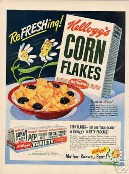 "Kellogg's Corn Flakes Cereal Ad ""Refreshing... (1949)"