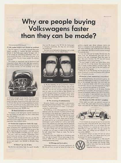 Volkswagen Beetle People Buy Faster Than Made (1959)