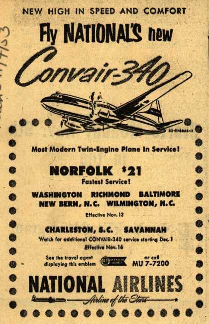 National Airline's Convair-340 – Fly National's new Convair-340 (1953)