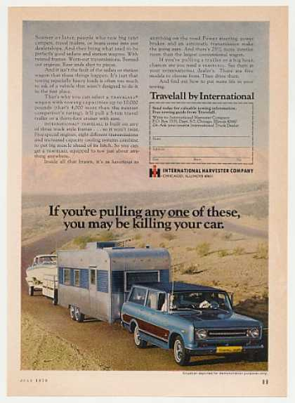 International Harvester Travelall Pulls Camper (1970)