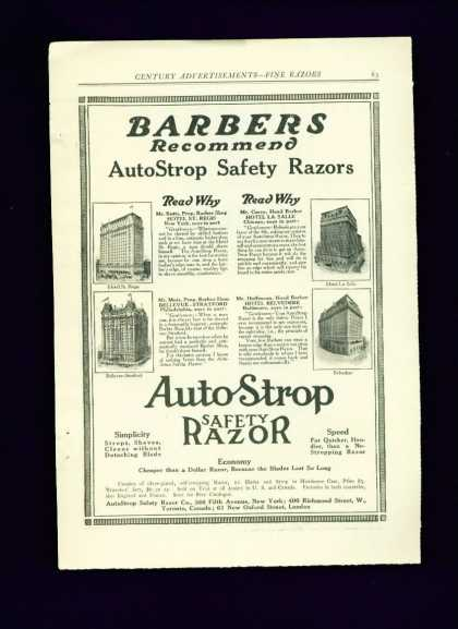 Auto Strop Safety Razor Ad C Barbers Recommend (1910)