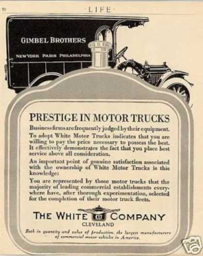 White Truck Ad Gimble Brothers (1914)