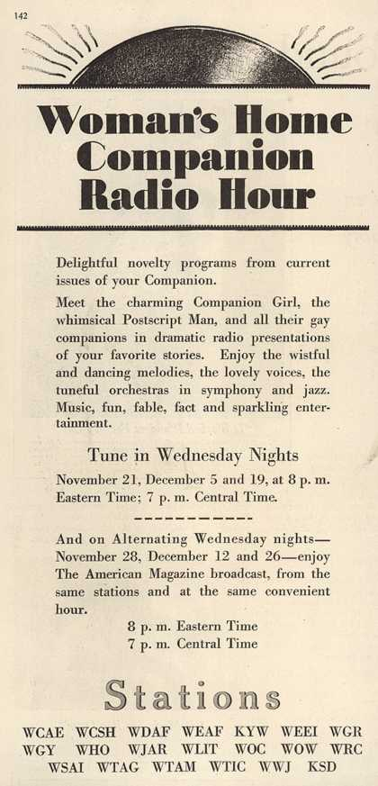 Women's Home Companion's Radio Program – Women's Home Companion Radio Hour (1928)