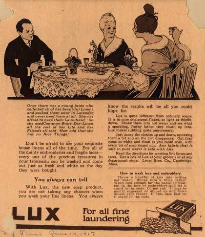 Lever Bros.'s Lux (laundry flakes) – Once there was a young bride... (1917)