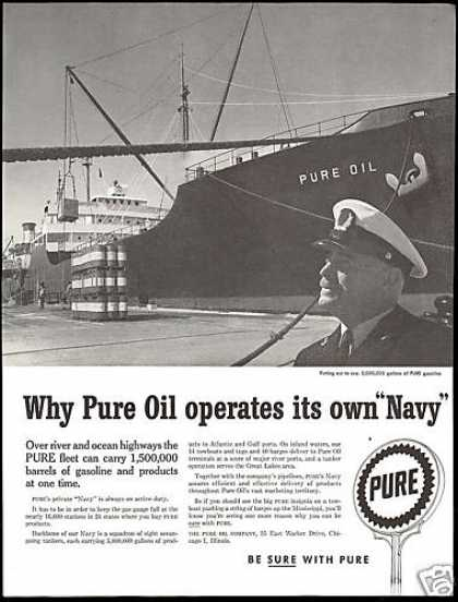 Pure Oil Company Ocean Tanker Ship Private Navy (1957)