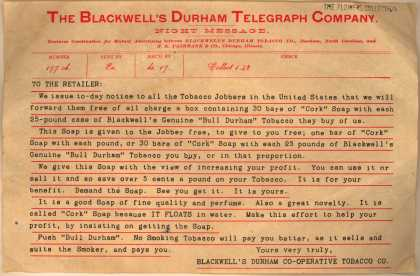 W. T. Blackwell's Genuine Bull Durham Tobacco – Telegram