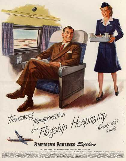 American Airlines – Timesaving Transportation and Flagship Hospitality for Only 4.5 Cents a Mile (1946)