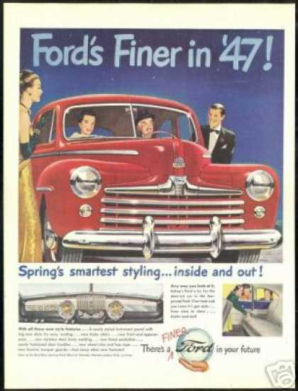 Big Red Ford Inside & Out Vintage Print Car (1947)