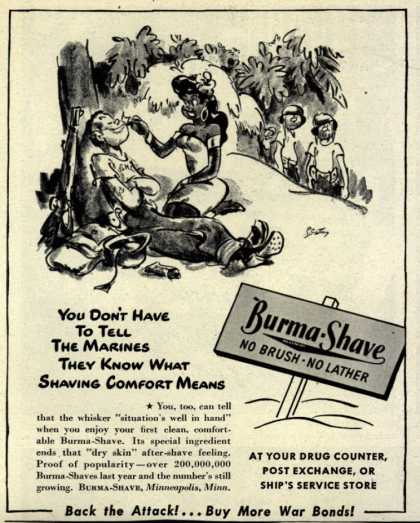 Burma-Vita Company's Burma-Shave – You Don't Have To Tell The Marines They Know What Shaving Comfort Means (1944)