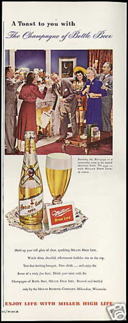 Miller Girl Photo High Life Beer Vintage (1949)