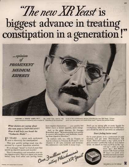 "Standard Brand's Fleischmann's XR Yeast – ""The new XR Yeast is the biggest advance in treating constipation in a generation!"" (1935)"