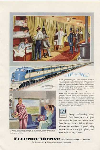 Gm General Motors Locomotives Train Ad T (1949)