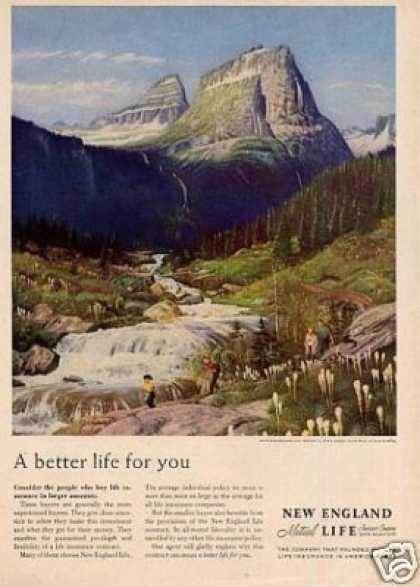 New England Life Insurance Ad Clymer Art (1958)