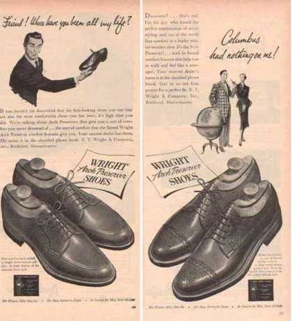 Wright Brand Shoes Ads – with Arch Preserver – Set of Two (1951)