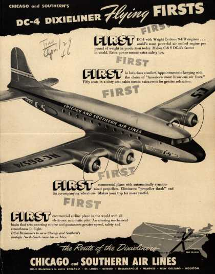 Chicago And Southern Air Line's Dixieliners – Chicago and Southern's DC-4 Dixieliner Flying Firsts (1946)