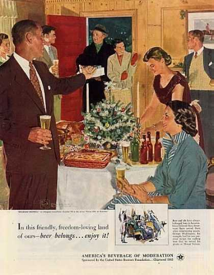 "Beer Belongs Ad ""Holiday Buffet"" #76 (1952)"