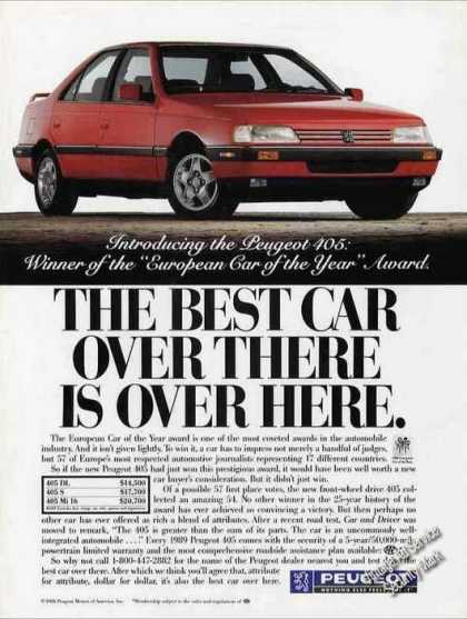 Red Peugeot 405 Collectible Car (1988)