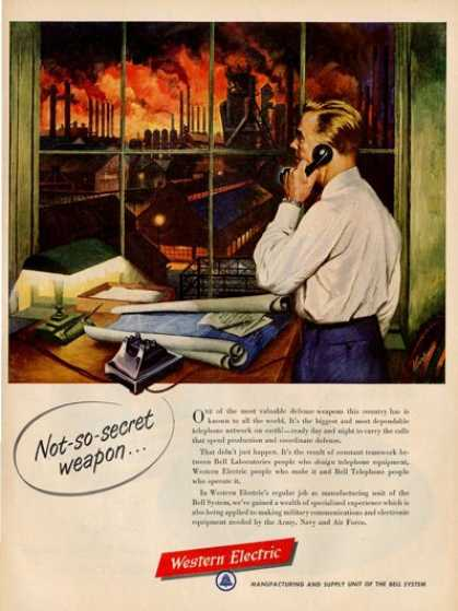 '52 Western Electric Dial Telephone Factory Worker Ad T (1952)