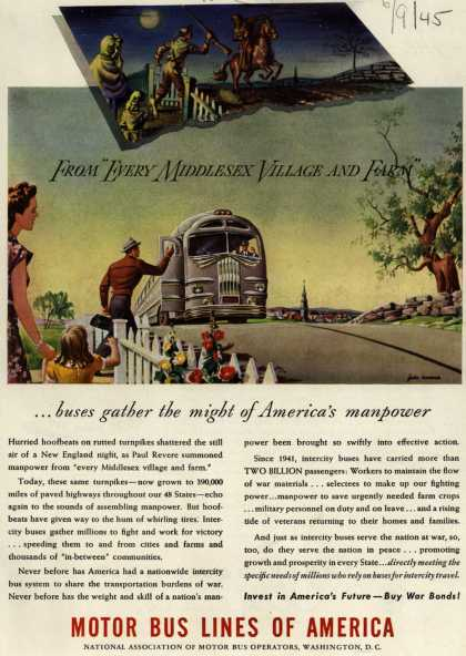 "Motor Bus Lines of America's Bus Travel – From ""Every Middlesex Village and Farm"" (1945)"