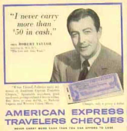 American Express Travelers Cheques – Robert Taylor (1958)