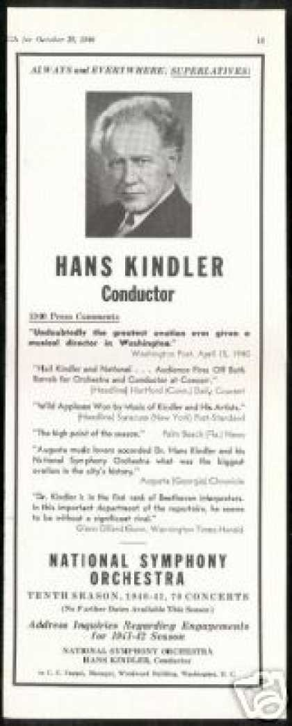 Hans Kindler Conductor Photo Reviews Vintage (1940)