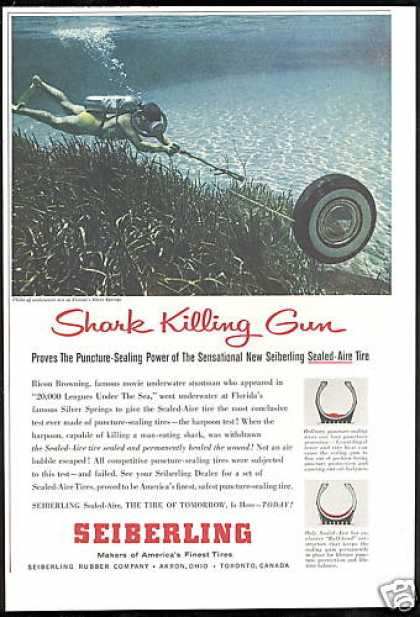 Scuba Diver Spear Gun Florida Seiberling Tire (1956)