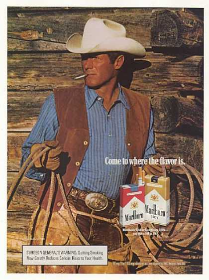 '86 Marlboro Cigarette Cowboy Man Holding Rope Photo (1986)