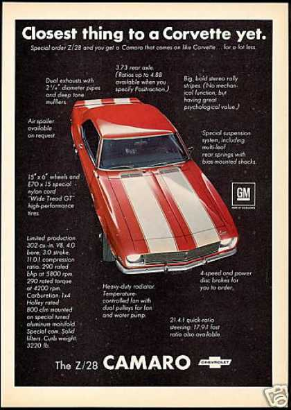 Chevrolet Z/28 Z28 Z-28 Camaro Photo Print Car (1968)