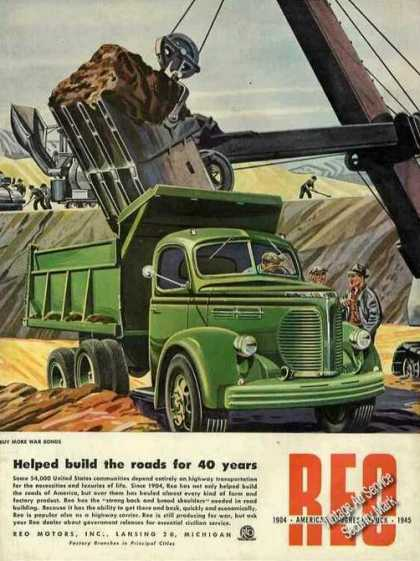 "Reo Trucks ""Helped Build Roads for 40 Years"" (1945)"