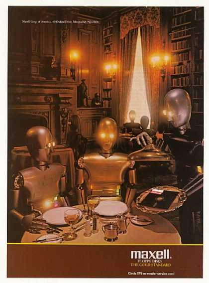 Maxell Floppy Disk Robots Eating Dinner (1986)