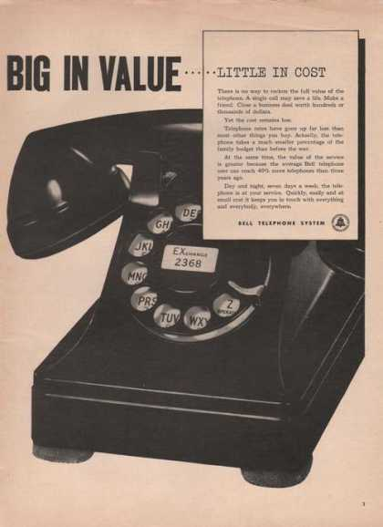 Big In Value Bell Telephone System Print A (1949)