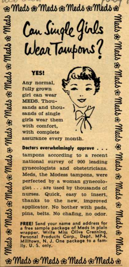Personal Products Corporation's Meds Tampons – Can Single Girls Wear Tampons? (1952)